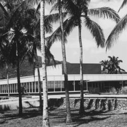 A black and white photograph of the IRRI building